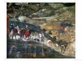 Landscape with Peasants and a Hunting Party Giclee Print by Ambrogio Lorenzetti