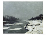 Ice Floes on the Seine at Bougival, Around 1867 Giclee Print by Claude Monet