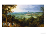 The Archdukes Go Hunting (In the Background the Mariemont Castle) Giclee Print by Jan Brueghel the Elder