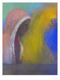 Profile of a Woman with a Pink Veil, 1885 Giclee Print by Odilon Redon