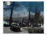 Moonlight Over Boulogne Harbor, 1869 Reproduction proc&#233;d&#233; gicl&#233;e par &#201;douard Manet