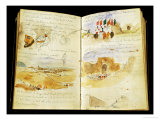 Sketches of Arabs, Landscapes of Morocco, Arab Crowds, Gate of Meknes and Hand-Written Notes, Giclee Print
