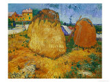 Haystacks in Provence, c.1888 Giclee Print by Vincent van Gogh
