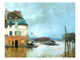 The Restaurant La Barque During the Flood at Port Marly Giclee Print by Alfred Sisley