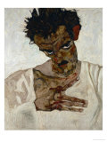 Egon Schiele, Self-Portrait with Bent Head, Study for Eremiten (Hermits) Giclee Print by Egon Schiele