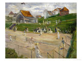 Tennis Court with Players in Noordwijk, Netherlands, 1913 Reproduction procédé giclée par Max Liebermann