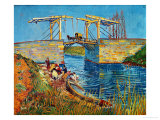 The Drawbridge at Arles with a Group of Washerwomen, c.1888 Impresso gicle por Vincent van Gogh