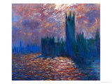 London, the Parliament; Reflections on the Thames River, 1899-1901 Giclee Print by Claude Monet