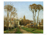 Entry into the Village of Voisins (Yvelines), 1872 Stampa giclée di Camille Pissarro