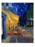 Den udendørs café på Place du Forum, Arles, om natten, ca.1888 Giclée-tryk af Vincent van Gogh