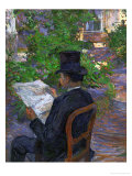 Desire Dihau (Reading a Newspaper in the Garden), 1890 Giclee Print by Henri de Toulouse-Lautrec