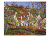 Red Roofs, a Village Corner, Winter, 1877 Reproduction procédé giclée par Camille Pissarro