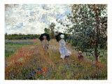 Promenade Near Argenteuil, 1873 Giclée-tryk af Claude Monet
