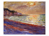 Beach at Pourville, Sunset, 1882 Reproduction procédé giclée par Claude Monet