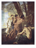 Et in Arcadia Ego, Arcadian Shepherds Try to Decipher the Inscription on an Ancient Sarcophagus Giclee Print by Nicolas Poussin