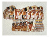 Fragment of a Wall Painting from the Tomb of Nabamun, From Thebes, 18th Dynasty, Around 1350 BCE Giclee Print