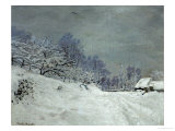Landscape Around Honfleur, Snow, circa 1867 Giclée-Druck von Claude Monet