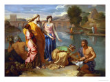 Moses Saved from the Floods of the Nile by the Pharaoh&#39;s Daughter Giclee Print by Nicolas Poussin