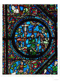 Gothic Stained Glass, Placidus Meets a Stag with Cross Between the Antlers and Becomes a Christian Giclee Print