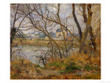 Banks of the River Oise Near Pontoise, Grey Sky, 1878 Giclee Print by Camille Pissarro