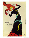 Dancer Jane Avril, Poster Reproduction procédé giclée par Henri de Toulouse-Lautrec