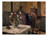 Still Life with Flowers, Interior of the Artist's Apartment, Rue Carcel, Paris Giclee Print by Paul Gauguin
