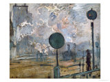 Gare St. Lazare, the Semaphores, 1877 Giclee Print by Claude Monet