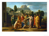 Jesus Healing the Blind of Jericho Giclée-tryk af Nicolas Poussin