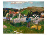 Peasants, Pigs, and a Village Under a Clear Sky, Landscape in Brittany, France, 1888 Giclee Print by Paul Gauguin