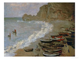 Etretat: The Beach and Harbour of Amont, 1883 Giclee Print by Claude Monet