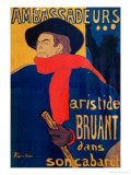 Aristide Bruant, Singer and Composer, at Les Ambassadeurs on the Champs Elysees, Paris, 1892 Lámina giclée por Henri de Toulouse-Lautrec