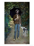 Man with Umbrella, Portrait of V. Jaquemont, Around 1868 Giclee Print by Claude Monet