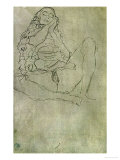 Sitting Half-Nude with Closed Eyes Giclee Print by Gustav Klimt