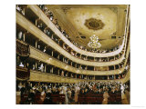 Auditorium in the Altes Burgtheater Gicléedruk van Gustav Klimt