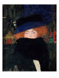 Lady with Hat and Feather Boa, 1909 Reproduction proc&#233;d&#233; gicl&#233;e par Gustav Klimt