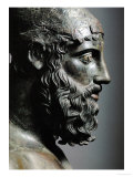 Riace Bronze (B), Head of Bronze Statue of a Young Man with Helmet, Detail Giclee Print by  Phidias