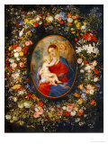 Virgin and Child with Angels Amonst a Garland of Flowers, Medaillon Rubens Giclée-Druck von Jan Brueghel the Elder