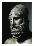 Riace Bronze (B), Head of Bronze Statue of a Young Man with Helmet, Detail Reproduction procédé giclée par Phidias