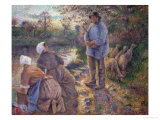 Shepherd and Washerwomen, 1881 Giclee Print by Camille Pissarro