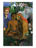 Contes Barbares; Two Young Tahitian Women and a Fairytale-Devil Giclee Print by Paul Gauguin