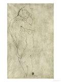 Lovers, Black Crayon (1908) Giclee-trykk av Gustav Klimt