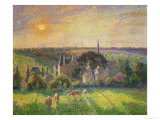 Landscape at Eragny: Church and Farm, 1895 Giclee Print by Camille Pissarro