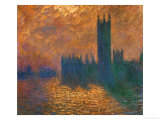 The Parliament in London, Stormy Sky Reproduction procédé giclée par Claude Monet
