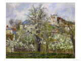 Trees and Flowers, Spring at Pontoise, 1877 Giclée-Druck von Camille Pissarro