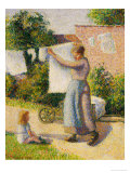 Woman Hanging Her Laundry, 1887 Giclee Print by Camille Pissarro