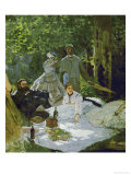 Le Dejeuner Sur L'Herbe, (Luncheon on the Grass), Depicts Painters Courbet (L) and Bazille (Center) Giclee Print by Claude Monet