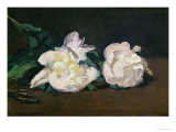 A Twig of White Peonies with Pruning Shears, 1864 Giclee Print by Édouard Manet