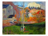 The David Mill, Brittany Landscape, 1894 Giclée-tryk af Paul Gauguin