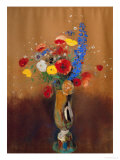 Bouquet of Wild Flowers in a Vase with Long Neck, 1912, Gouache Giclee Print by Odilon Redon