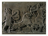 King Ashurnazirpal Hunting Lions, a Lion Leaping at the King's Chariot Reproduction procédé giclée